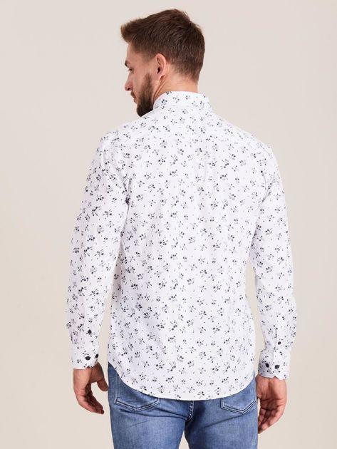 Biała koszula męska w roślinne wzory                              zdj.                              2