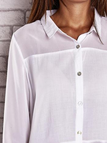 Biała koszula mgiełka z dłuższym tyłem                                  zdj.                                  5