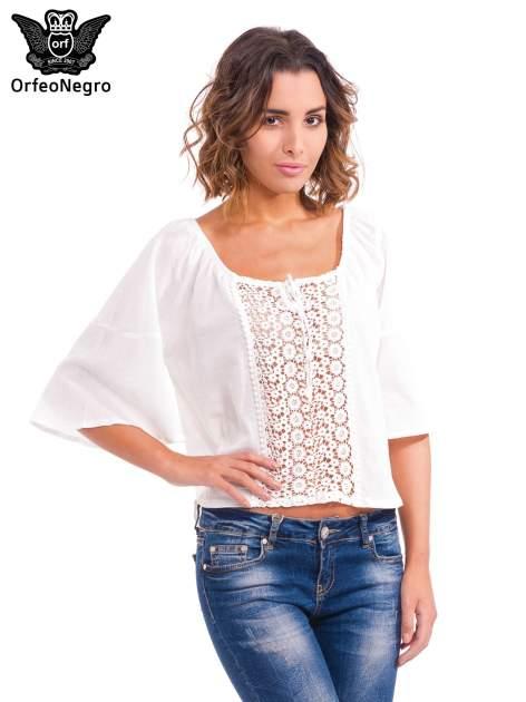 Biała koszula z ażurowym przodem