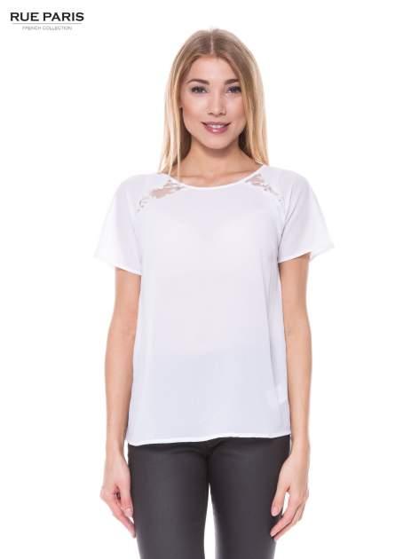 Biała koszula z koronkowymi wstawkami                                  zdj.                                  1
