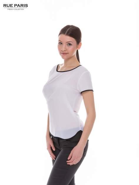 Biała koszula z krótkim rękawem i kontrastową lamówką                                  zdj.                                  2