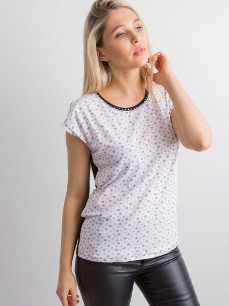Biała koszulka w drobne kwiaty                              zdj.                              3