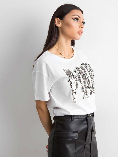 Biała koszulka z cekinowym napisem                              zdj.                              3