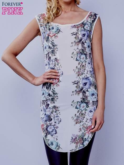 Biała kwiatowa tunika z koronkowym tyłem