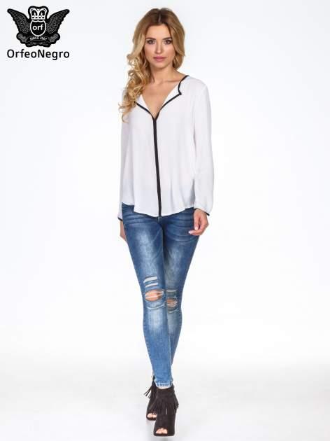 Biała minimalistyczna koszula z czarną listwą                                  zdj.                                  8