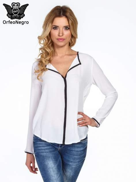 Biała minimalistyczna koszula z czarną listwą                                  zdj.                                  1
