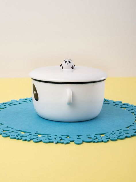 Biała miska ceramiczna z motywem pandy                              zdj.                              2