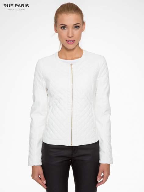 Biała pikowana kurtka ze skóry                                  zdj.                                  1