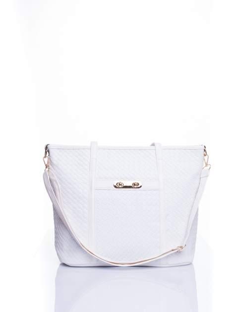 Biała pleciona torba shopper bag ze złotym detalem