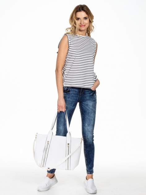 Biała pleciona torebka z suwakami                                  zdj.                                  2