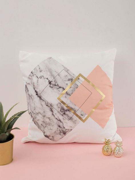 Biała poduszka ozdobna z nadrukiem