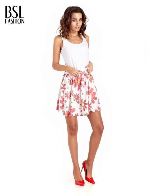 Biała rozkloszowana spódnica skater w kwiaty                                  zdj.                                  7