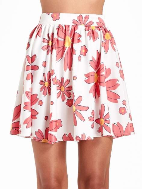 Biała rozkloszowana spódnica skater w kwiaty                                  zdj.                                  6