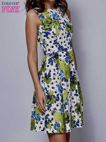 Biała rozkloszowana sukienka w zielone kwiaty                                  zdj.                                  3