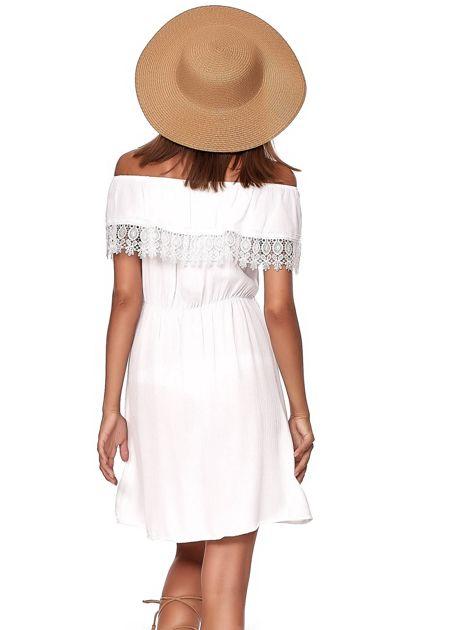 Biała sukienka hiszpanka mini z falbanką przy dekolcie                              zdj.                              2