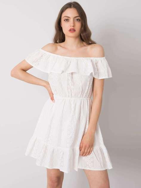 Biała sukienka hiszpanka z falbanką Veronica