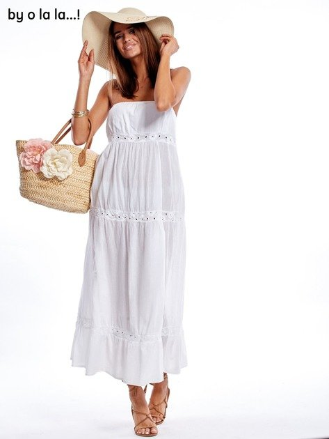 Biała sukienka maxi BY O LA LA                               zdj.                              7