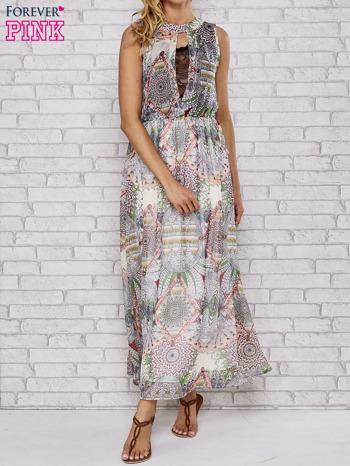 Biała sukienka maxi w ornamentowe wzory z koronką z tyłu