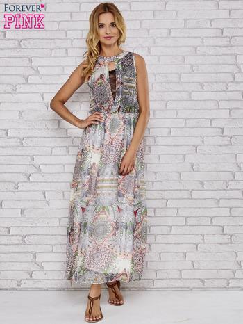 Biała sukienka maxi w ornamentowe wzory z koronką z tyłu                                  zdj.                                  2
