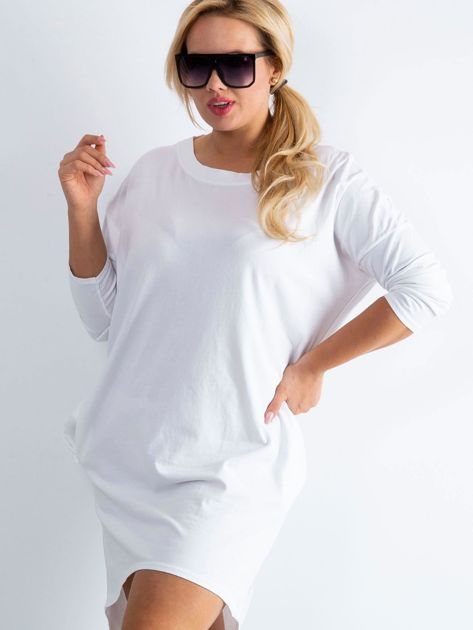 Biała sukienka oversize z bawełny                              zdj.                              5