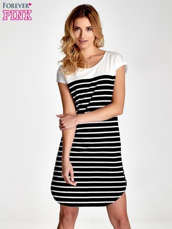 Biała sukienka w czarne paski                                  zdj.                                  1