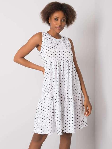 Biała sukienka w groszki Norinne RUE PARIS