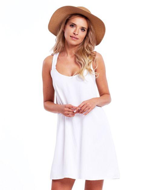 Biała sukienka z plecionymi ramiączkami                              zdj.                              1