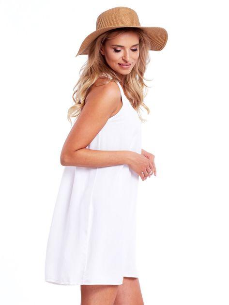 Biała sukienka z plecionymi ramiączkami                              zdj.                              3
