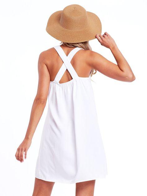 Biała sukienka z plecionymi ramiączkami                              zdj.                              2