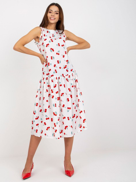 Biała sukienka z printami Safia