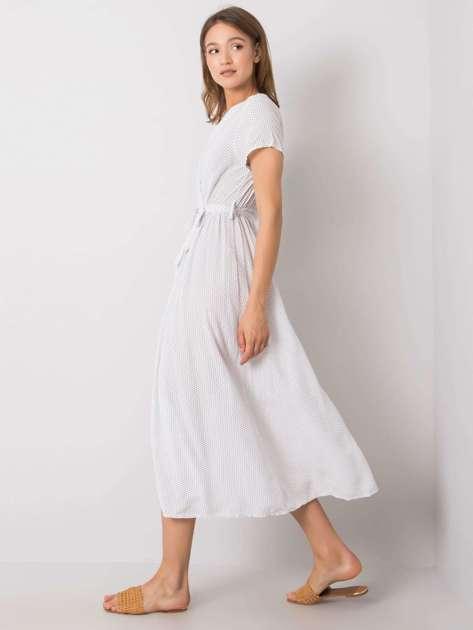 Biała sukienka z rozcięciem Josephine