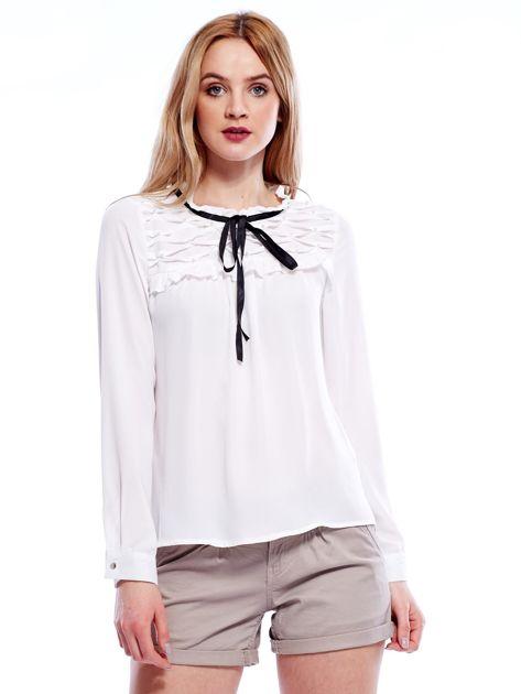 Biała szyfonowa bluzka z wiązaniem i perełkami                              zdj.                              1