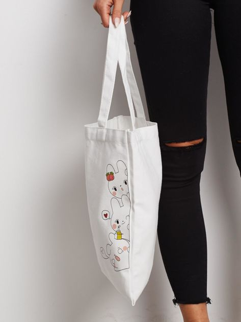 Biała torba materiałowa z nadrukiem                              zdj.                              2
