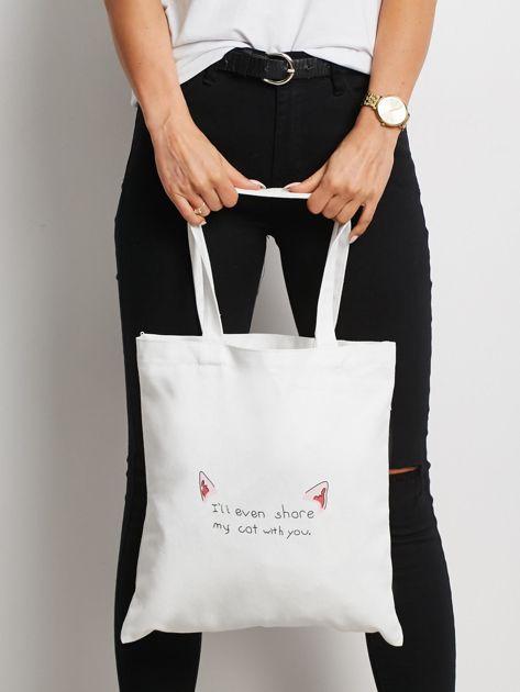 Biała torba materiałowa z printem                              zdj.                              1