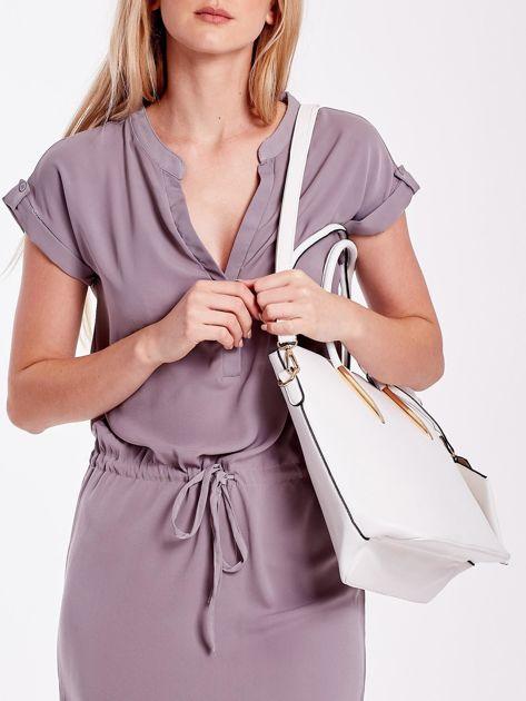 Biała torba shopper bag z błyszczącymi okuciami