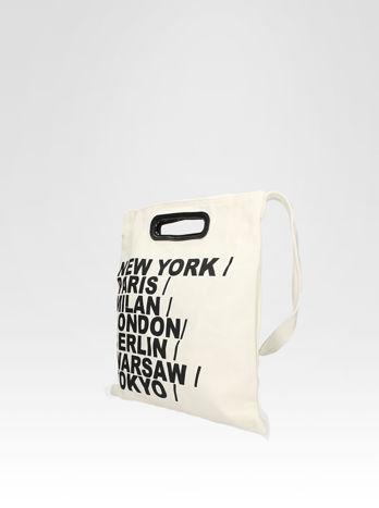 Biała torba shopper bag z printem                                  zdj.                                  2