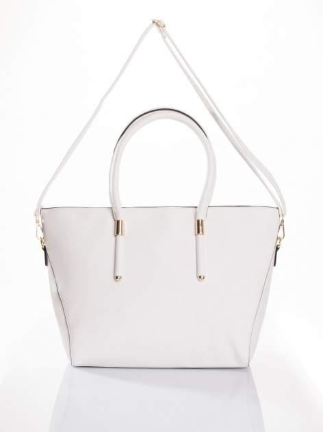 Biała torba shopper efekt saffiano                                  zdj.                                  4