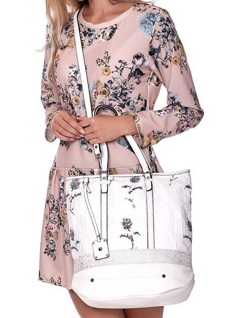 Biała torba w kwiaty ze wstawką crocodile skin                              zdj.                              1