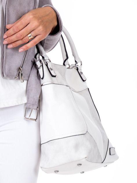 Biała torba z łączonych materiałów                              zdj.                              3