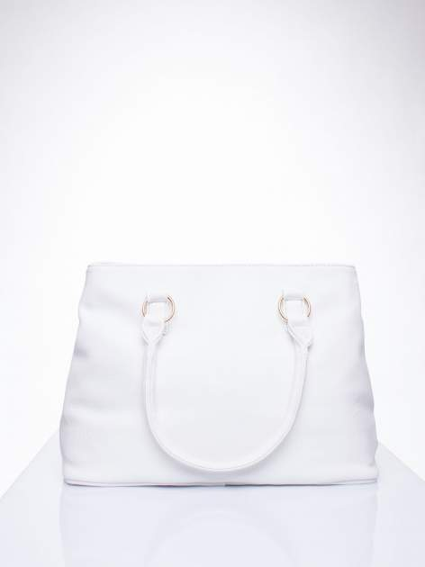 Biała torebka ze złotymi okuciami z kryształkami                                  zdj.                                  4
