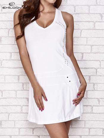 Biała trapezowa sukienka sportowa                                   zdj.                                  1