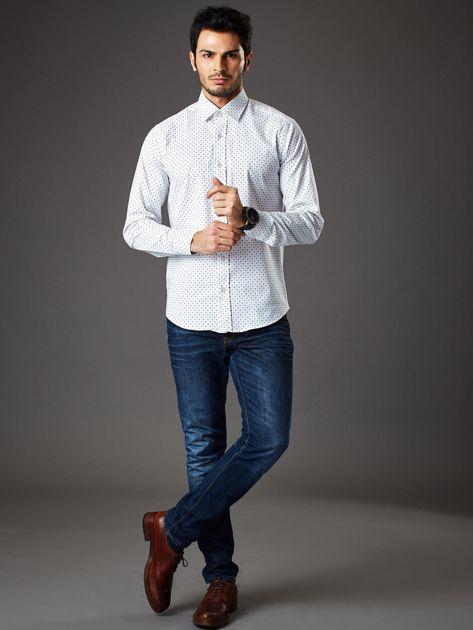Biała wzorzysta koszula męska o prostym kroju                               zdj.                              4