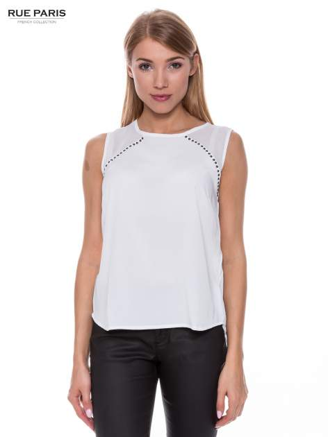 Biała zwiewna koszula z dżetami                                  zdj.                                  1
