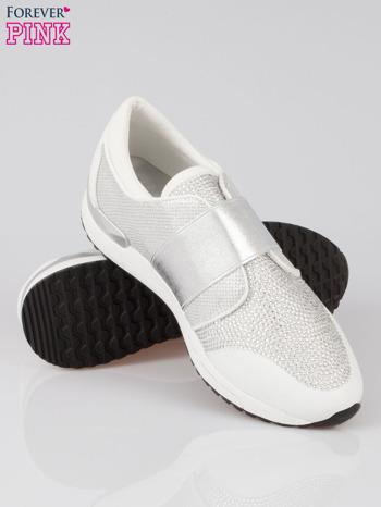 Białe buty sportowe textile Troublemaker z dżetami                                  zdj.                                  4