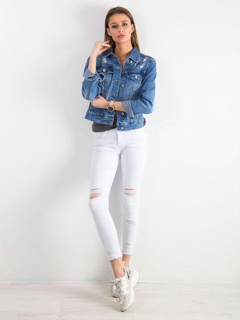 Białe jeansy skinny z dziurami                              zdj.                              4