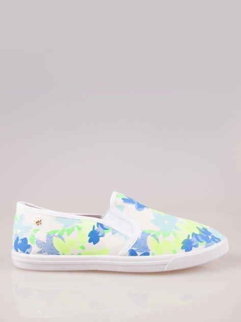 Białe kwiatowe buty slip-on                                  zdj.                                  1