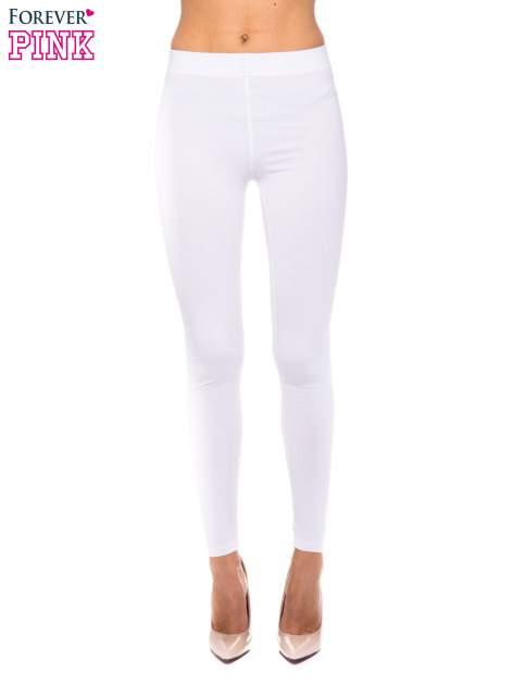 Białe legginsy z bawełny