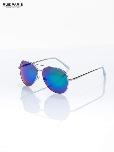 Białe okulary przeciwsłoneczne pilotki typu AVIATOR Z SYSTEMEM FLEX NA ZAUSZNIKACH                                  zdj.                                  2