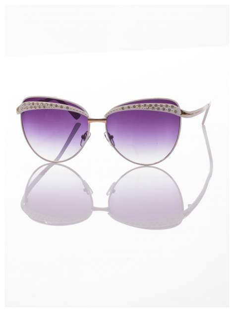 Białe okulary przeciwsłoneczne z cyrkoniami w stylu RETRO                                   zdj.                                  3