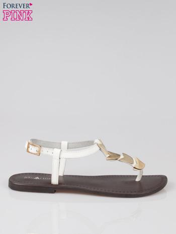 Białe skórzane sandały japonki ze złotą aplikacją Magic                                  zdj.                                  1